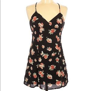 Forever 21 Black Floral Strap Mini Dress